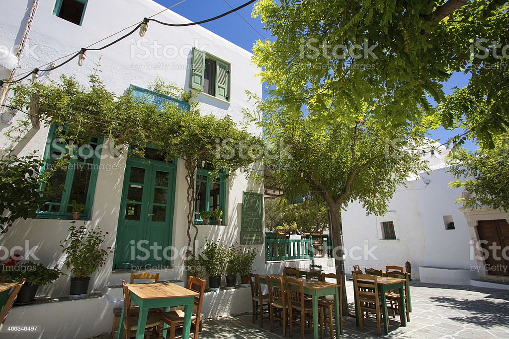 Typical Greek terrace at Folegandros stock photo