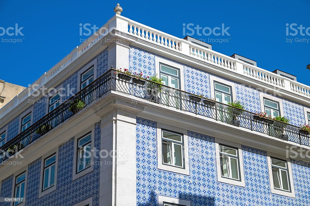 Typical historic building in Lisbon stock photo