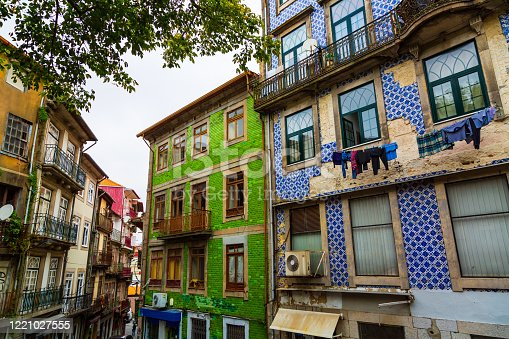Typical historical old town houses with azulejos decoration in Porto, Portugal