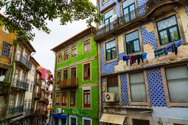 Typical historical old town houses with azulejos decoration in Porto city, Portugal stock photo