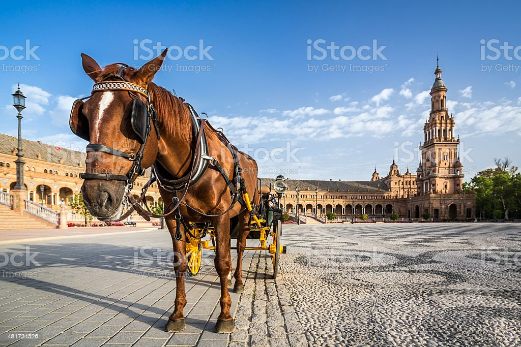 Typical horse drawn carriage in Plaza de Espana. Seville. Spain. stock photo