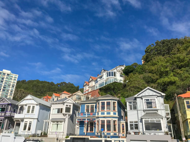 Typical House Architecture of Wellington New Zealand Examples of the typical classic housing architecture of Wellington New Zealand wellington new zealand stock pictures, royalty-free photos & images