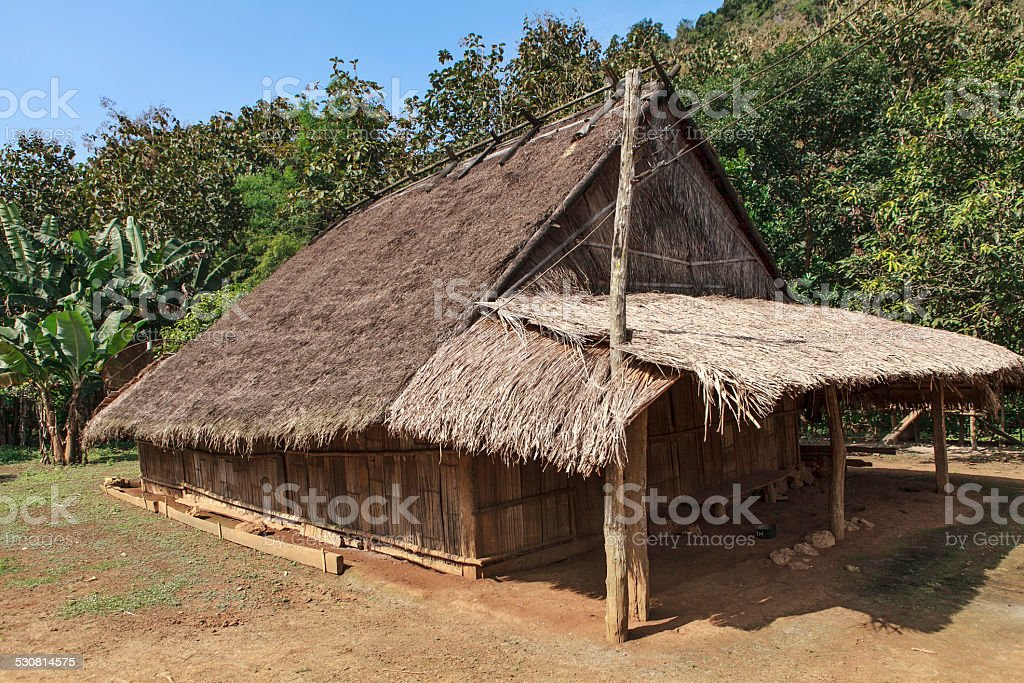 typical house in north laos stock photo