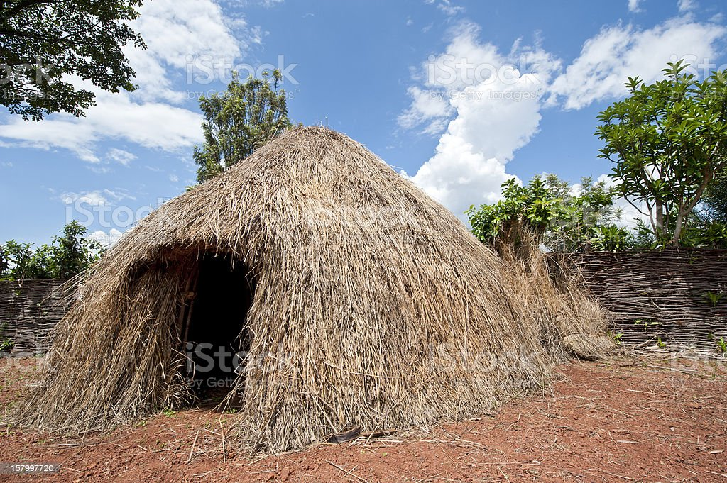 Typical house in rural Burundi, Africa stock photo