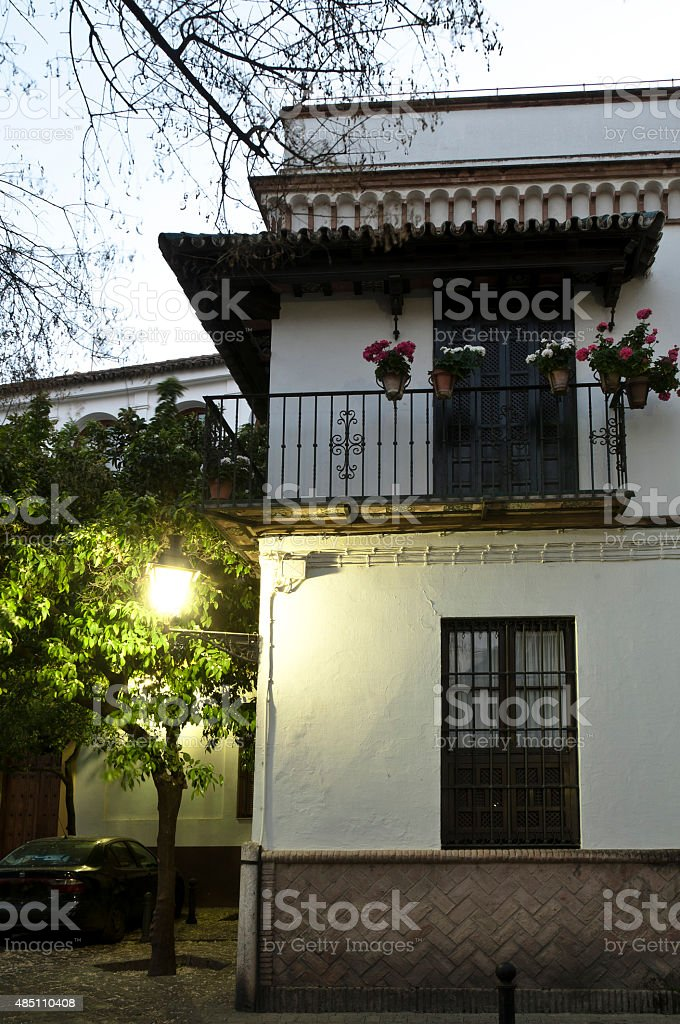 Typical house in Santa Cruz district, Seville royalty-free stock photo
