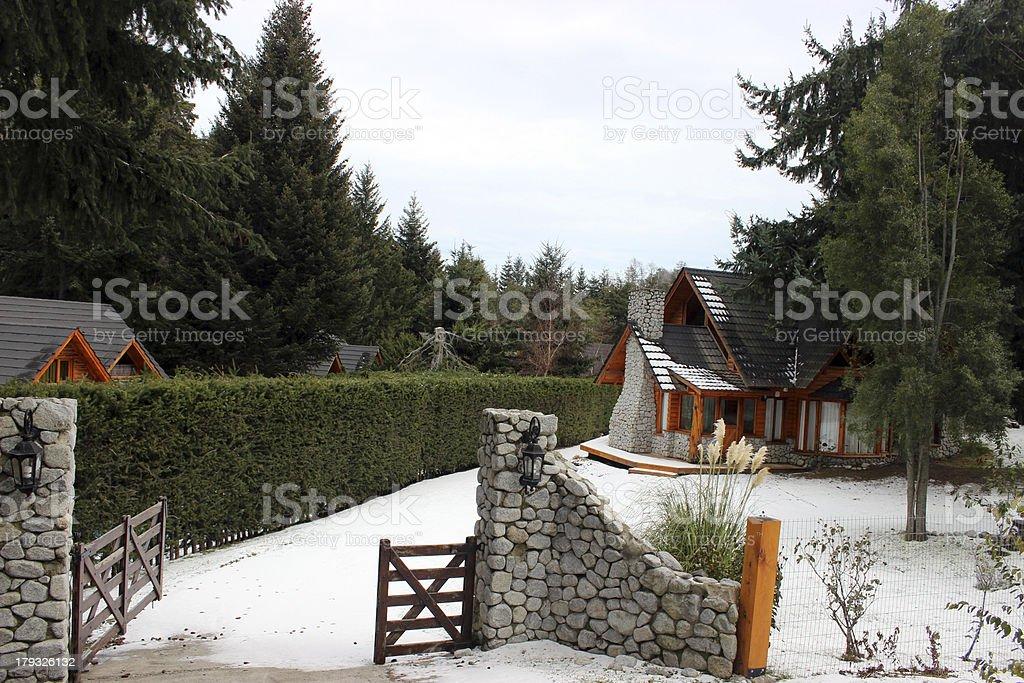 Typical house of Villa La Angostura City - Argentina stock photo