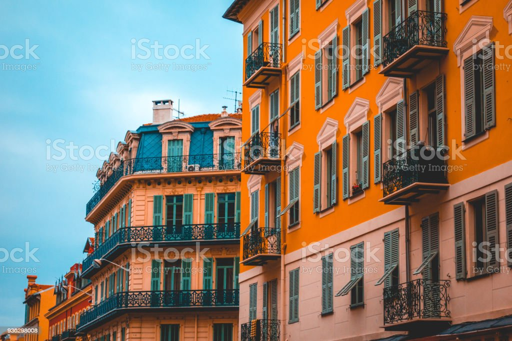typical houses at nice, with green windows stock photo