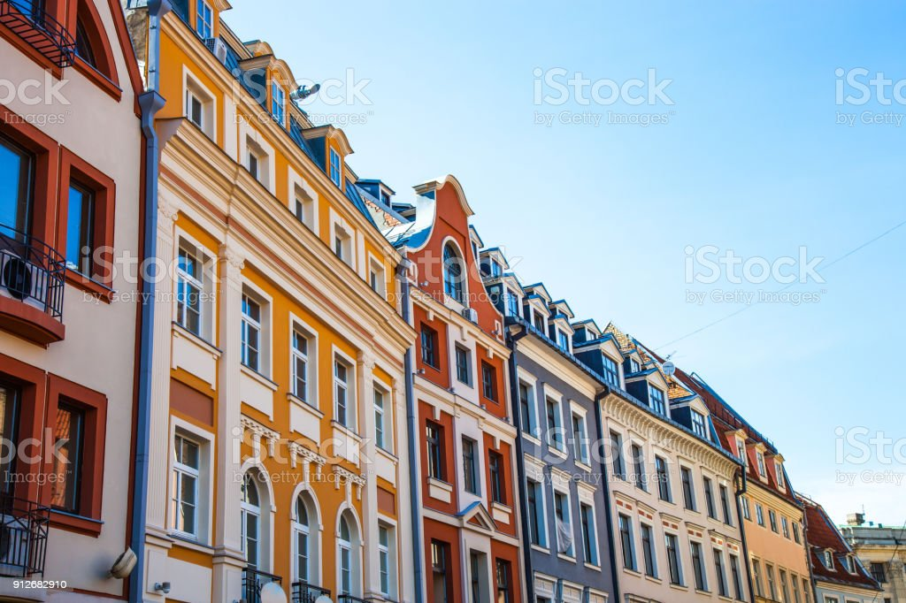 Typical houses in Riga old town stock photo