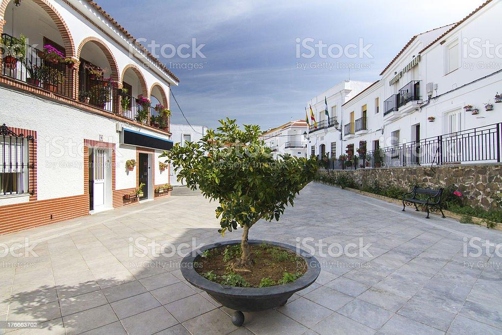 Casas típicas de la ciudad de Sanlucar español foto de stock libre de derechos