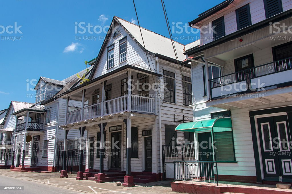 Typical houses in the old historic city center of Paramaribo stock photo