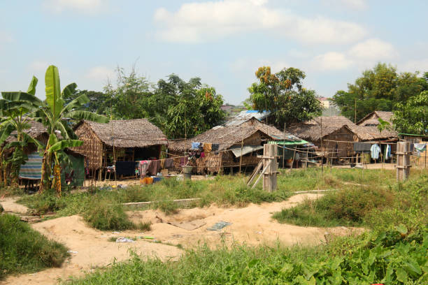 typical houses of local village of myanmar, burma. - burma home do стоковые фото и изображения