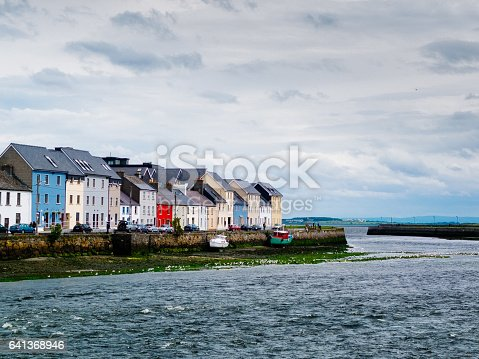 View of small port of Galway with the typical houses in background