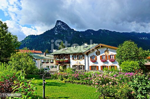 Typical house with frescoes painting at the village of Oberammergau which is well known as home to a long tradition of woodcarving and for its famous Lüftlmalerei or frescoes.