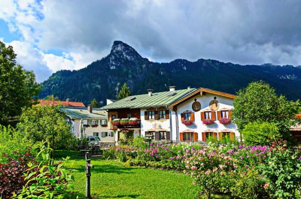 Typical housw at Oberammergau. Bavaria, Germany. stock photo