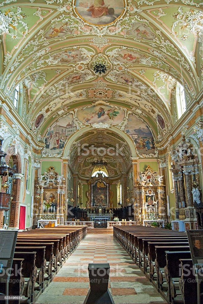 Typical interior of the Italian church stock photo
