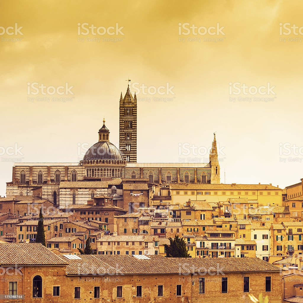 Typical Italian scene: duomo in Siena royalty-free stock photo