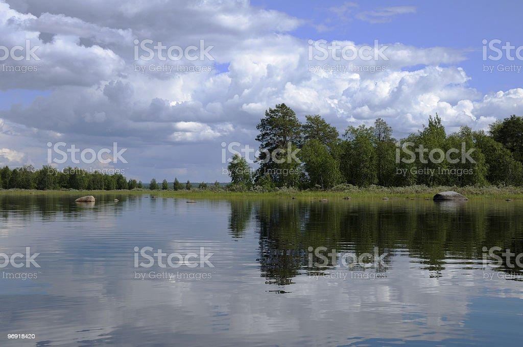 Typical Karelian lake with huge boulders royalty-free stock photo