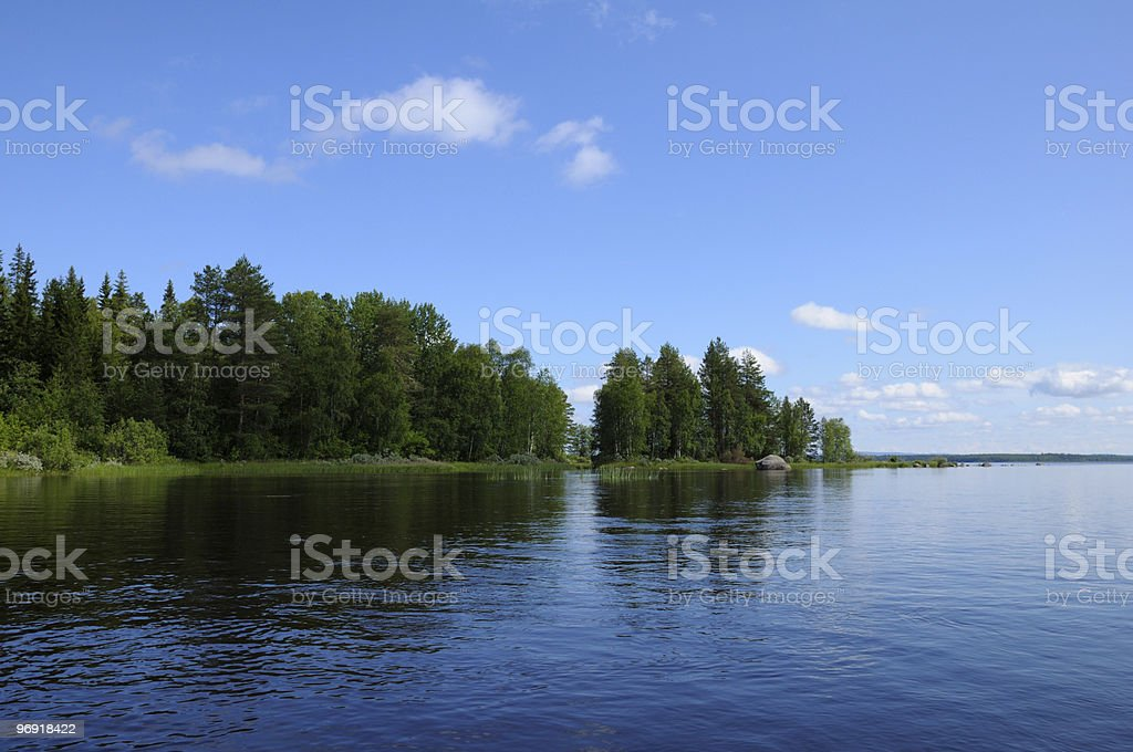 Typical Karelian lake with huge boulders royalty-free stock photo