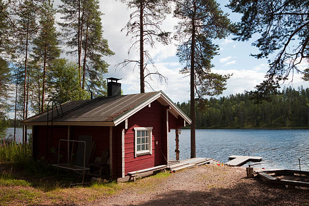 Typical Lakeside Sauna in Finland stock photo