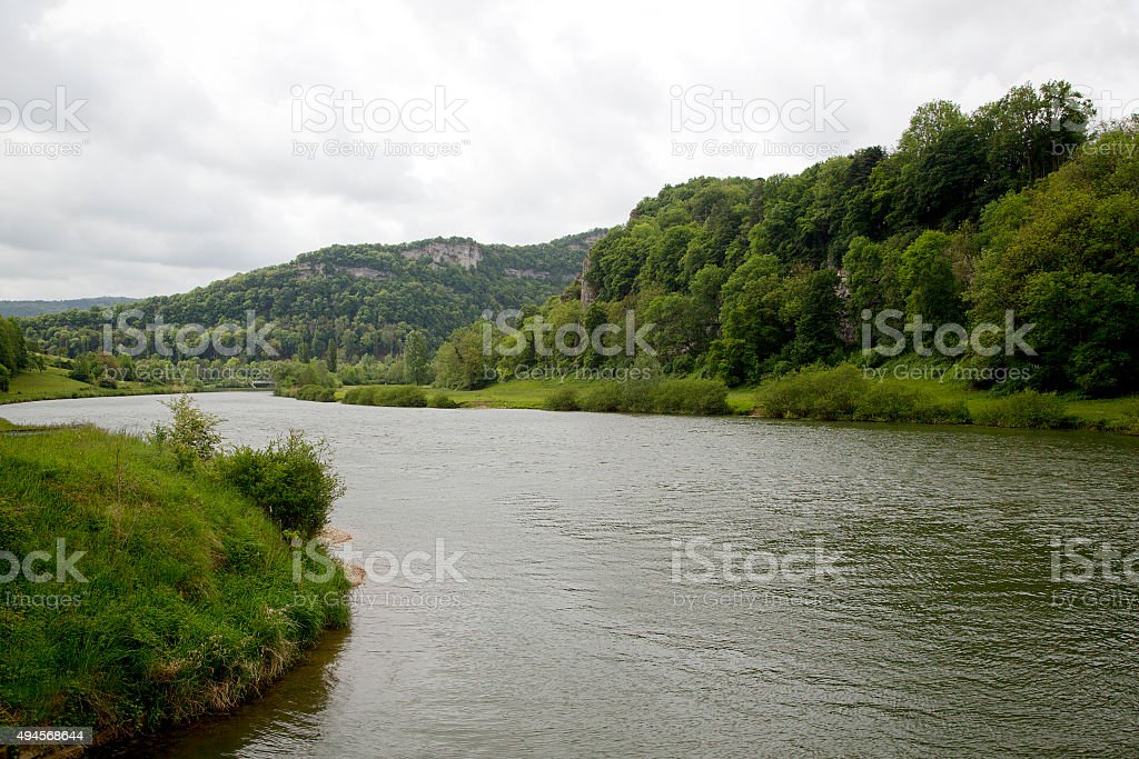 Typical landscape of French river Doubs stock photo