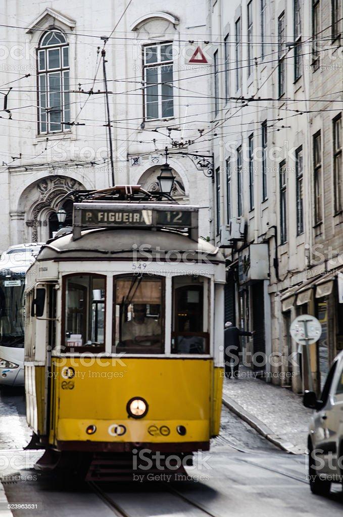Typical Lisbon tram stock photo