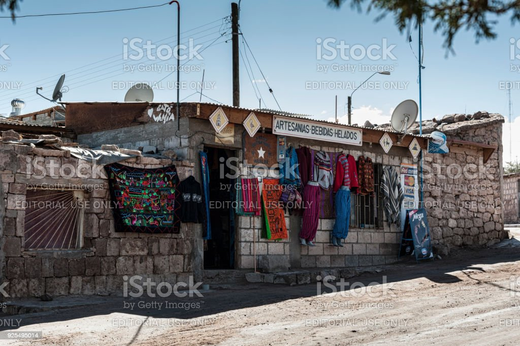 Typical local shop on the street at Toconao village in Atacama Desert, Chile - South America stock photo