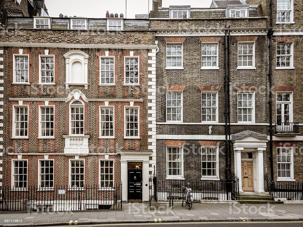 Typical London street and buildings stock photo