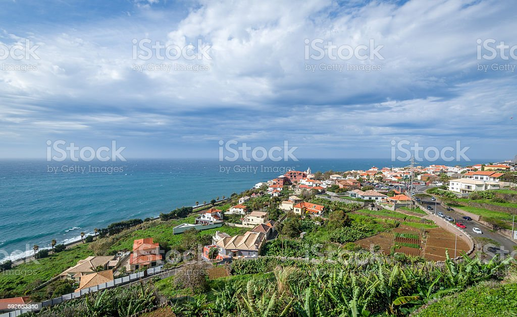 Typical Madeira island rural landscape on the south coast. stock photo