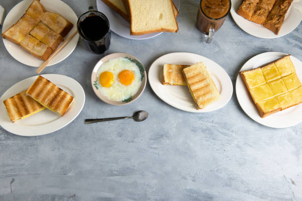 typical malaysian breakfast nanyang cuisine with copy space stock photo