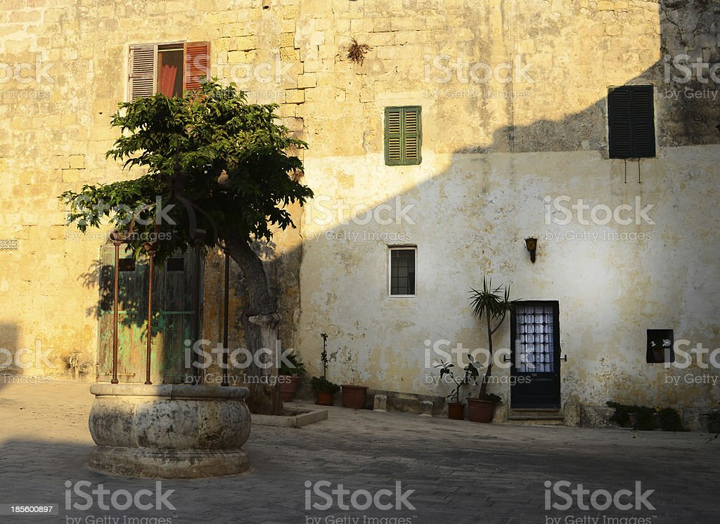 Typical Maltese square in Mdina, also called the Silent City royalty-free stock photo