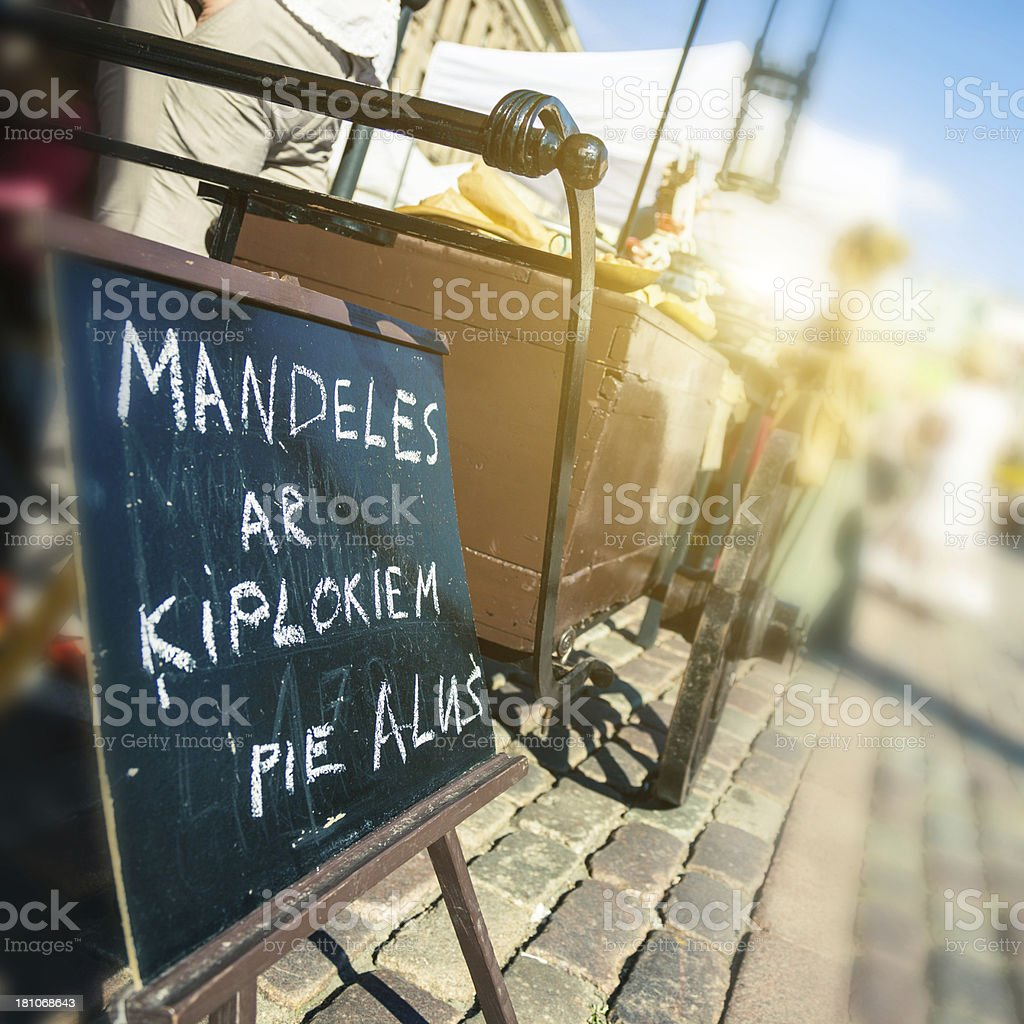 Typical market in Riga old town royalty-free stock photo
