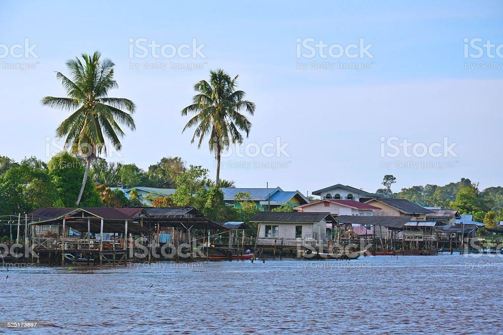 Typical Melanau village in Mukah, Sarawak Borneo, Malaysia stock photo