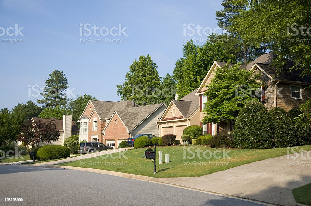 Typical mid class western Suburb neighborhood stock photo