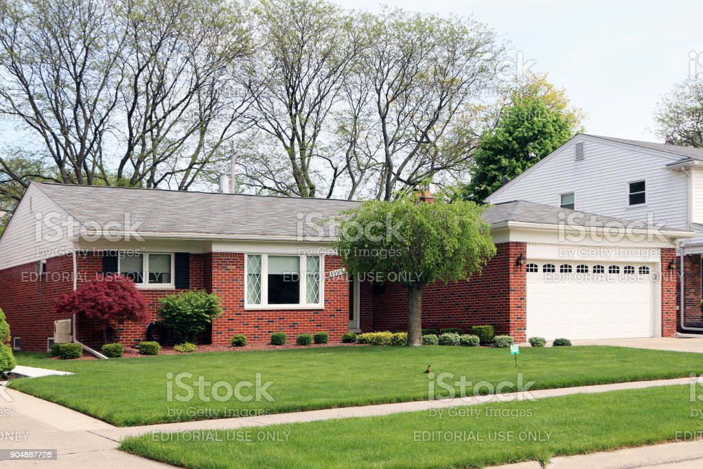 Typical midwestern home stock photo
