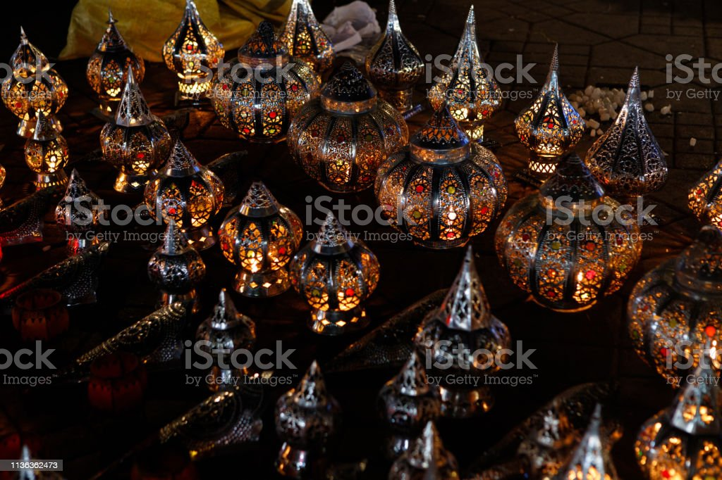 Typical Moroccan Decorated Lamps Made Of Iron With An