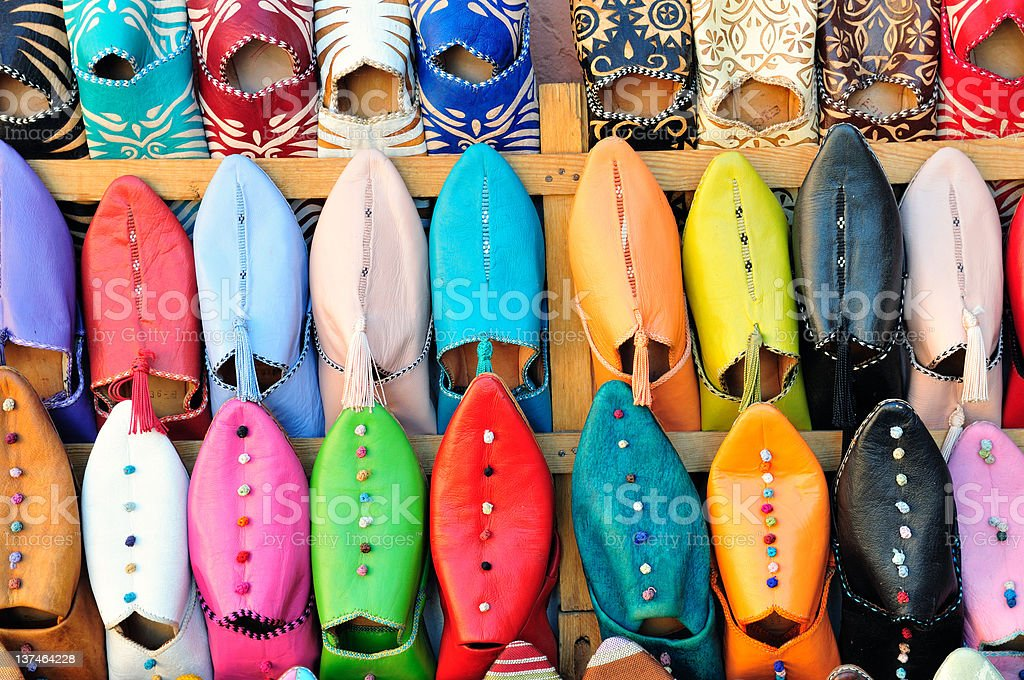 Typical moroccan shoes stock photo