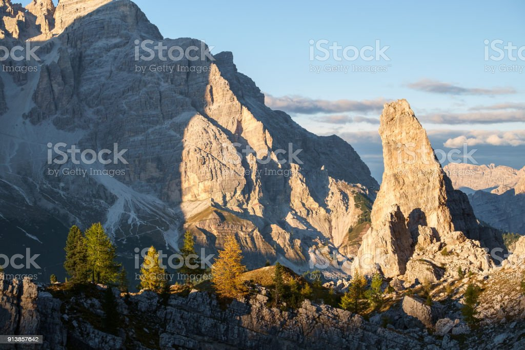 Typical mountain landscape in the Dolomites in Italy stock photo
