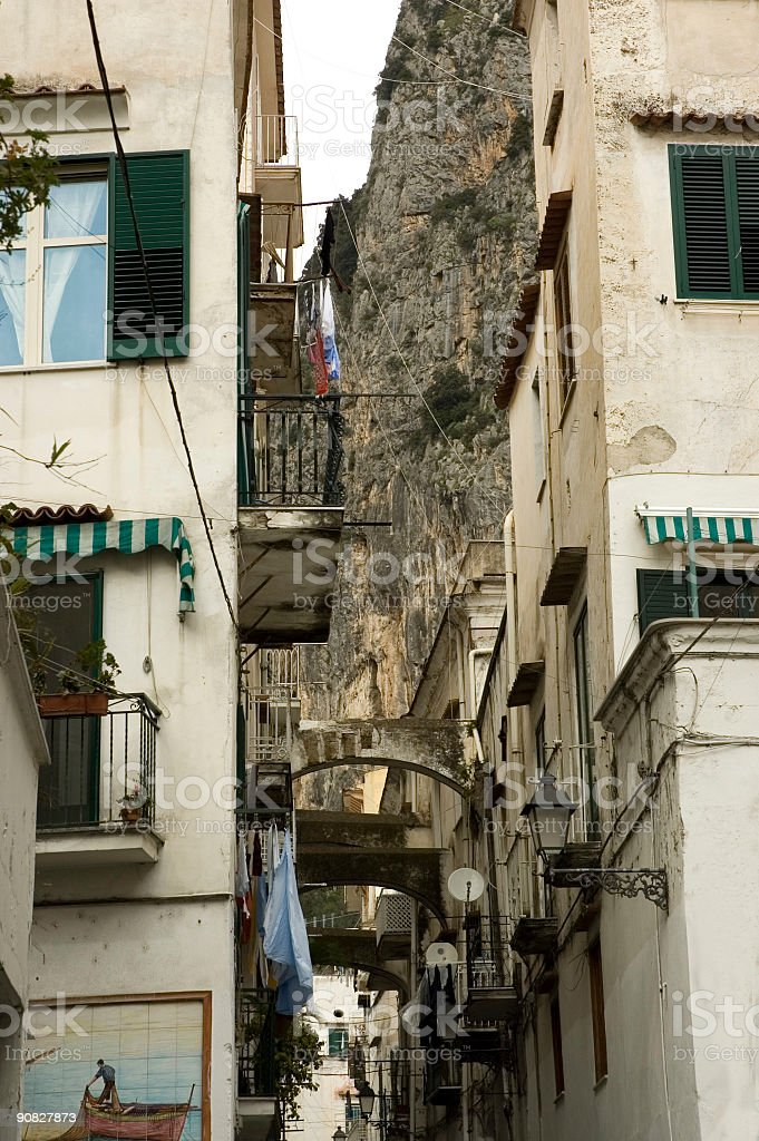 Typical narrow street of Italy royalty-free stock photo