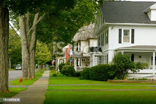 A typical American street in a typical American neighborhood.