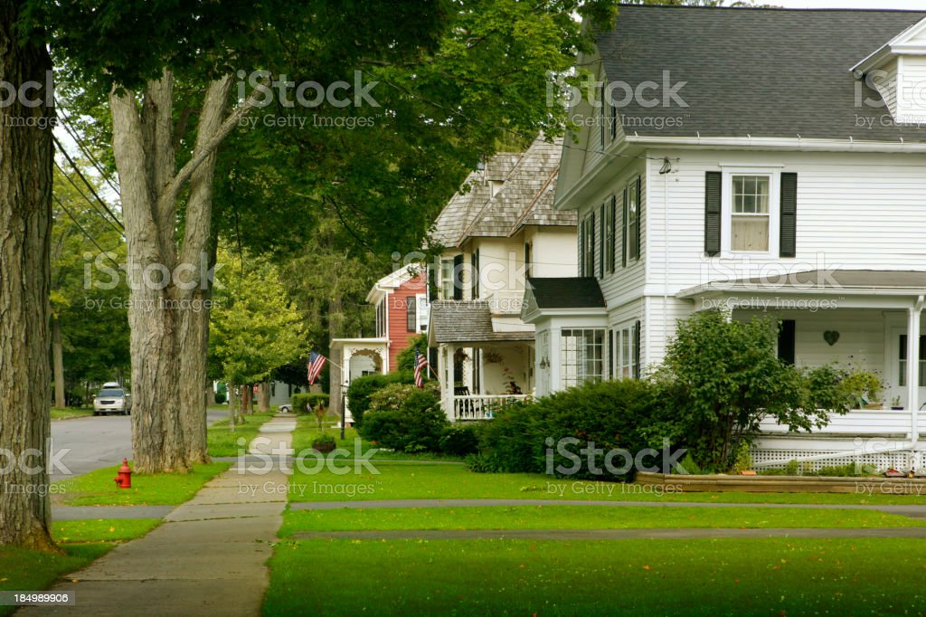 Typical neighborhood in small town America stock photo