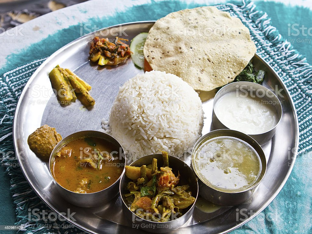 Typical Nepalese Meal, Thali stock photo