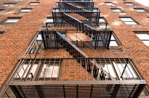 Typical New York fire stair made from cast iron in Manhattan, New York.