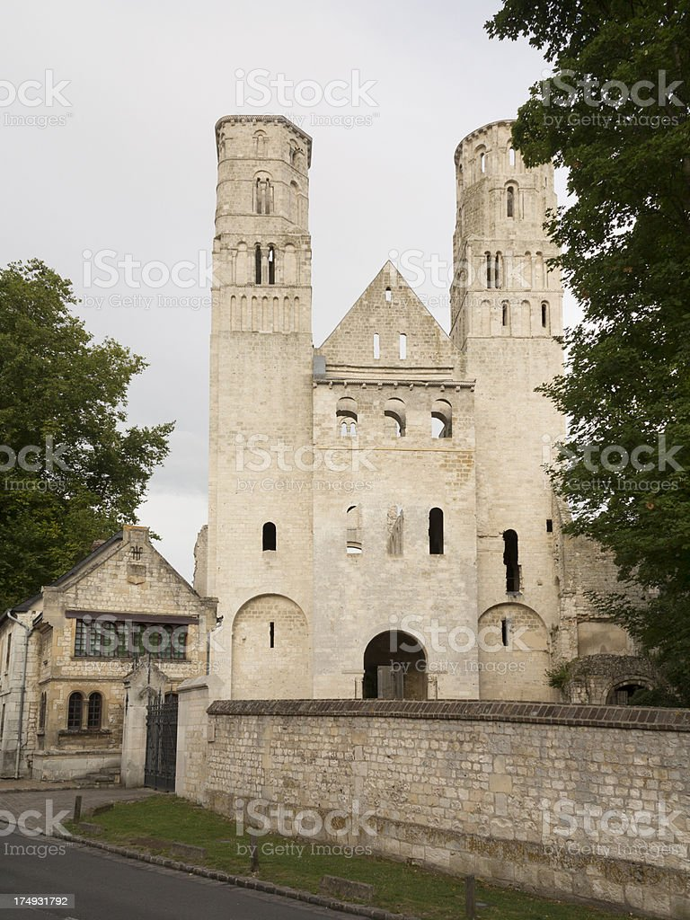 Typical Norman Abbey in Jumieges, France stock photo