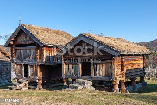 istock typical Norwegian  wooden houses - farmhouse yard, stockholm 465121642