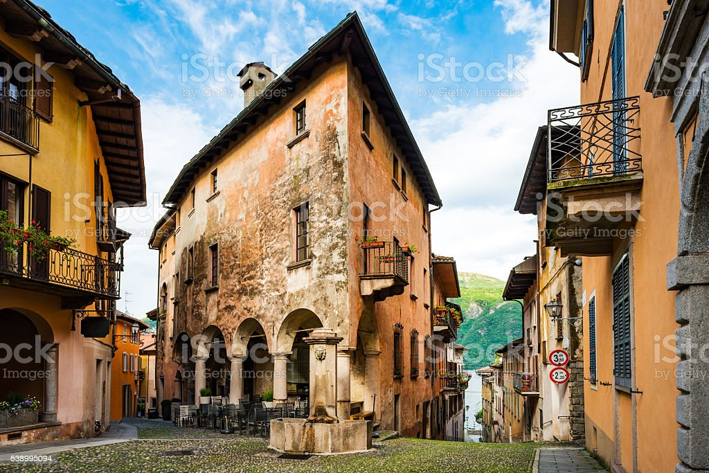 typical old alley in Italy at Lake Maggiore stock photo