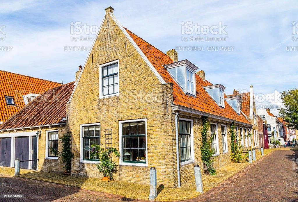 typical old fishermans brick building in the village of Harlinge foto de stock royalty-free