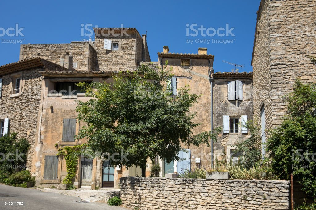 Typical old stone houses in Gordes village, Vaucluse, Provence, France stock photo