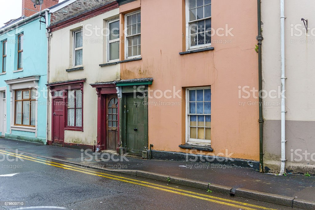 Typical old terraced housing  in Carmarthen Town Centre stock photo