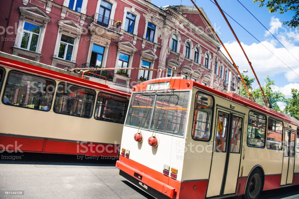 Typical old trolley bus in Vilnius royalty-free stock photo