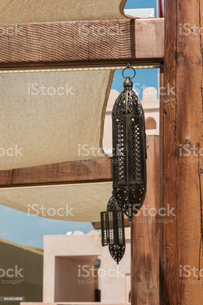 Typical Oman Sultanate's Lantern Covered with Holes stock photo